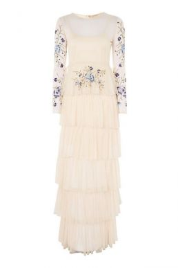 Lace & Beads Chandelier Sequin Midi Dress Ivory Multi