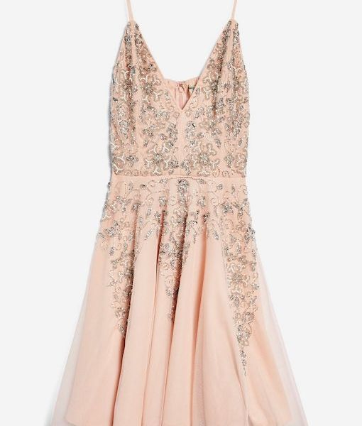 Lace beads roxanne petite skater dress blush pink for Wedding dress travel case