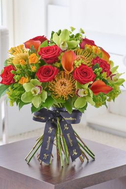 Luxury Orchid, Rose and Calla Lily Vibrant Hand-tied Bouquet