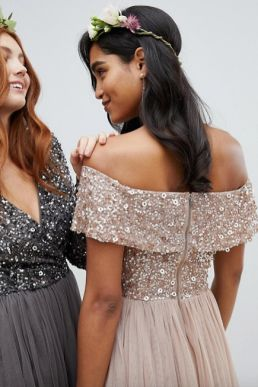 Maya Bardot High Low Sequin Maxi Dress Blush Taupe