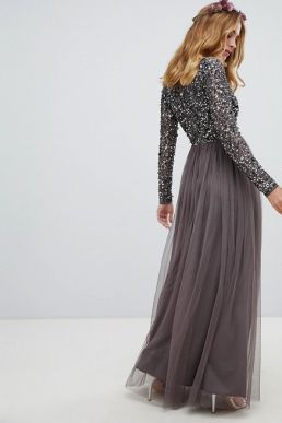 Maya long sleeve wrap front maxi dress sequin and tulle skirt Grey Charcoal