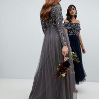 17e7a60abb3ee Maya long sleeve wrap front maxi dress sequin and tulle skirt, Grey/Charcoal