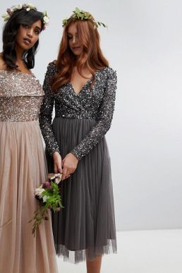 Maya Sleeve Midi Bridesmaid Dress Sequin and Tulle Skirt Grey Charcoal