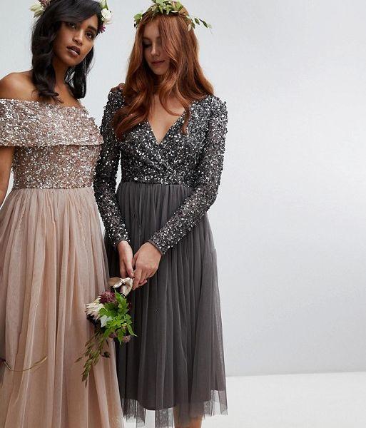 ee28d4a4340 Maya Sleeve Midi Bridesmaid Dress Sequin and Tulle Skirt Grey Charcoal