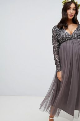 Maya Sleeve Midi Bridesmaid Maternity Dress Sequin and Tulle Skirt Grey Charcoal