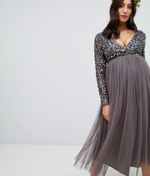 c3d611e352376 Maya Sleeve Midi Bridesmaid Maternity Dress Sequin and Tulle Skirt Grey  Charcoal