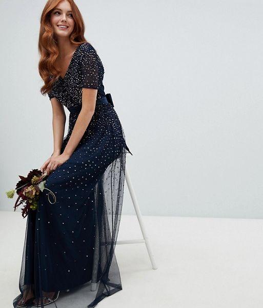 306bf53a Maya V Neck Maxi Tulle Bridesmaid Sequin Dress, Navy   myonewedding ...
