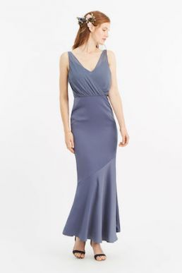 Oasis Slinky Bow Maxi Bridesmaid Dress Mid Grey