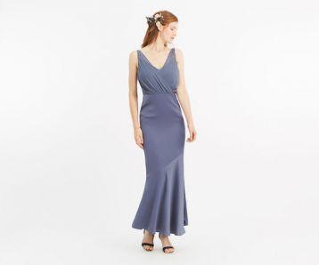 Oasis Slinky Bow Maxi Bridesmaid Dress Mid Grey