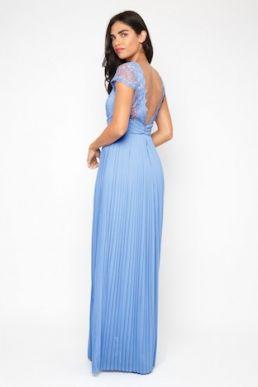 TFNC Kimora Blue Bell Lace Bridesmaid Maxi Dress Cornflower