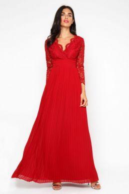 TFNC Sabera Winter Wine Lace Sleeve Maxi Dress