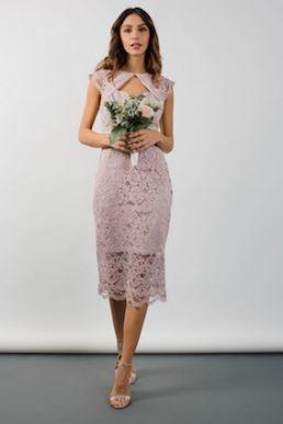 TFNC Verona Lace Mink Midi Dress Pink Mink