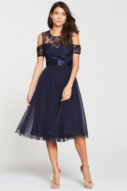 V by Very Bridesmaid Cold Shoulder Prom Dress Navy