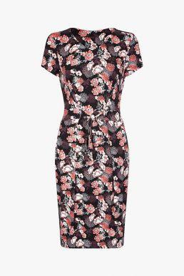 Yumi Curves Floral Jersey Dress Black Multi