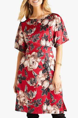 Yumi Floral Satin Kimono Floral Dress Red