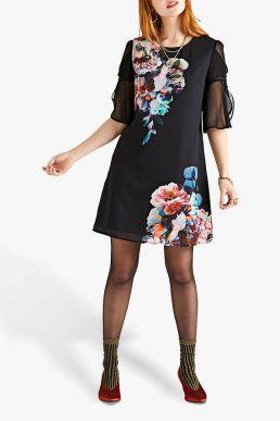 Yumi Flute Sleeve Tunic Dress Black Multi