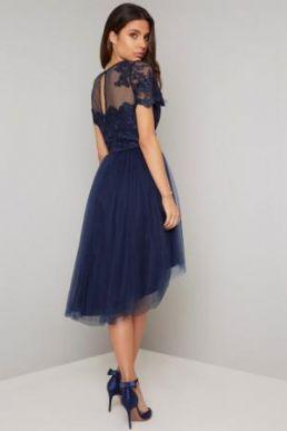 Chi Chi Anya Lace Short Bridesmaid Dress Navy