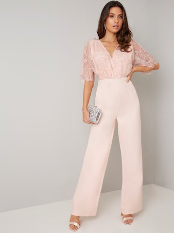 best authentic detailed images fashionable and attractive package Chi Chi Keira Lace Sleeve Jumpsuit, Pink/Blush
