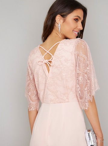 54883e42422 Chi Chi Keira Lace Sleeve Jumpsuit Pink Blush. Chi Chi Keira Lace Sleeve  Jumpsuit Pink Blush