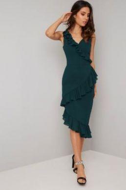 Chi Chi Kennedy Frill Dress Green