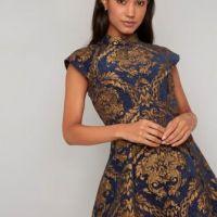 Chi Chi Leila Dress Navy Gold