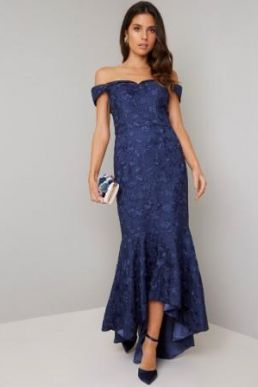 Chi Chi Lily Floral Embroidered Bardot High Low Dress Navy Blue