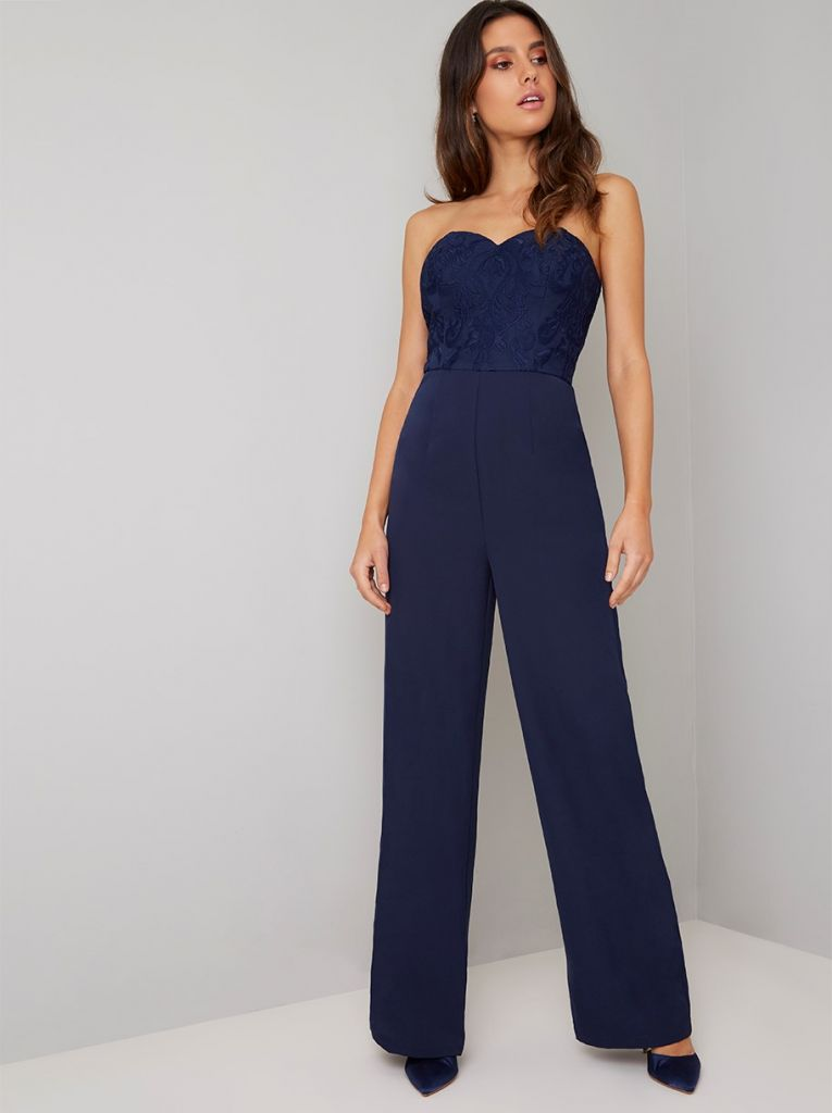 2a3a107d3f4 Chi Chi Naomi Lace Strapless Jumpsuit