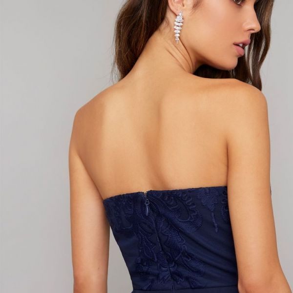 Chi Chi Naomi Lace Strapless Jumpsuit Navy