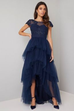 Chi Chi Embroidered Stormie Tulle Dress Navy Blue
