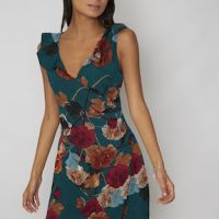 Chi Chi Yelisa Floral Shift Dress Green Multi