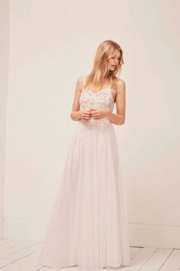 French Connection Genoa Embroidered Maxi Wedding Dress White