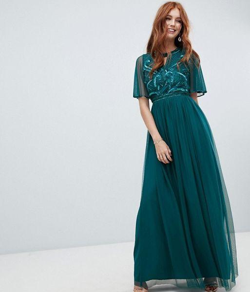 e4b2beb6042 Amelia Rose embellished maxi dress fluted sleeve emerald green