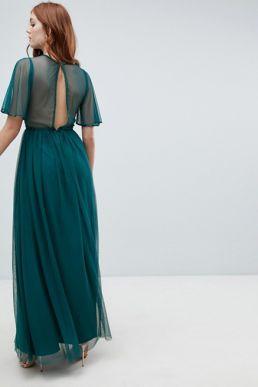 Amelia Rose embellished maxi dress fluted sleeve emerald green