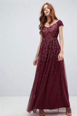 Amelia Rose embellished ombre sequin maxi dress Berry Burgundy