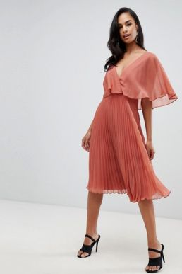 ASOS DESIGN flutter sleeve midi dress pleat skirt Peach Neutral