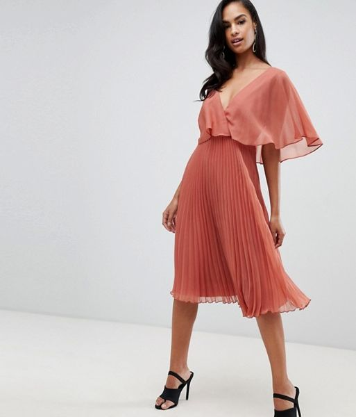 8519165fc7f ASOS DESIGN flutter sleeve midi dress pleat skirt Peach Neutral