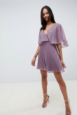 ASOS DESIGN flutter sleeve mini dress with pleat skirt Lilac Purple