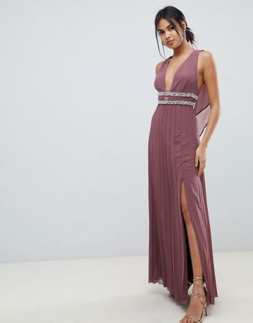 ASOS DESIGN embellished pleat maxi bridesmaid dress Pink Taupe