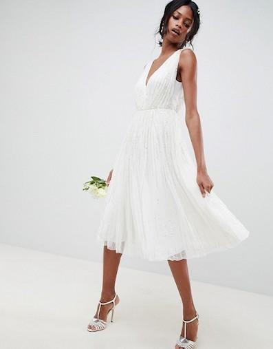 Asos Edition Waterfall Sequin Midi Wedding Dress White Sale Bridal
