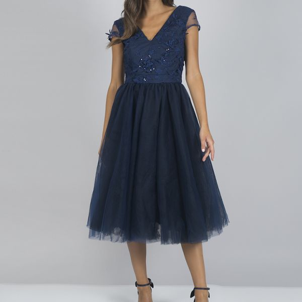 Chi Chi Cosette Embroidered Bridesmaid Dress Navy
