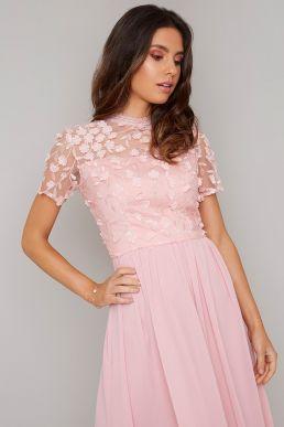 Chi Chi Scorcha Floral Bridesmaid Dress Pink Blush