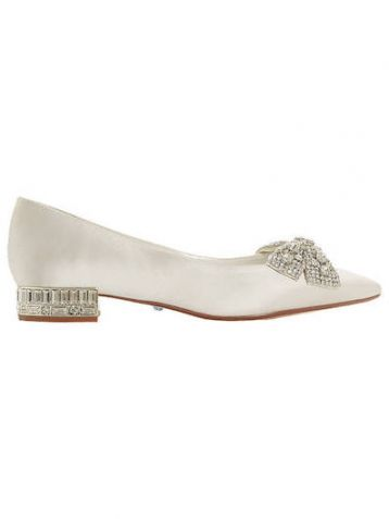 Dune Bridal Collection Bow Tie Ballet Pumps Ivory