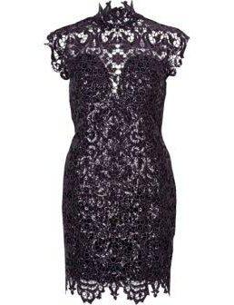 Forever Unique beige lace bodycon dress Black Purple