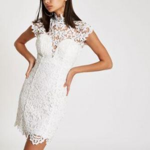 Forever Unique beige lace bodycon dress White