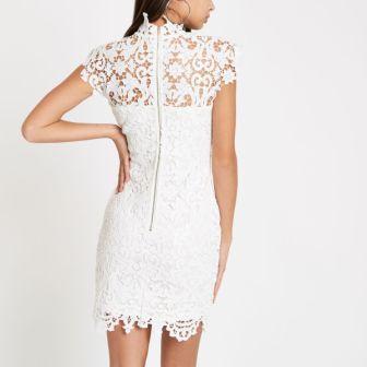 Forever Unique beige lace bodycon dress White