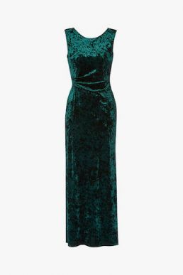 Gina Bacconi Anabelle Velvet Maxi Dress Dark Green