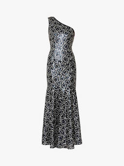 Gina Bacconi Beezus Embellished Floral Maxi Dress Navy Silver