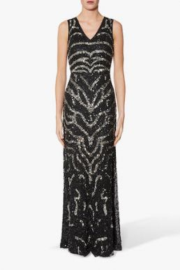 Gina Bacconi Sorsha Beaded Maxi Dress Black Silver