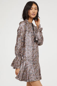H&M Silk-blend floral print sleeve dress Multi
