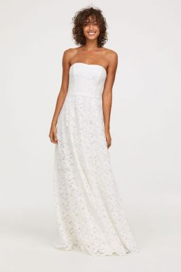 H&M Long lace bandea wedding dress Ivory